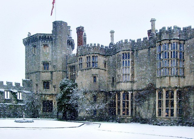 building snow Winter weather château castle palace history old