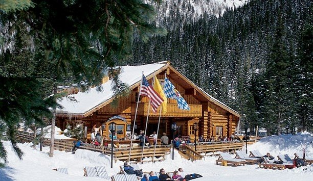 snow tree Winter skiing hut log cabin house tourist attraction sugar house cottage landscape leisure slope surrounded day