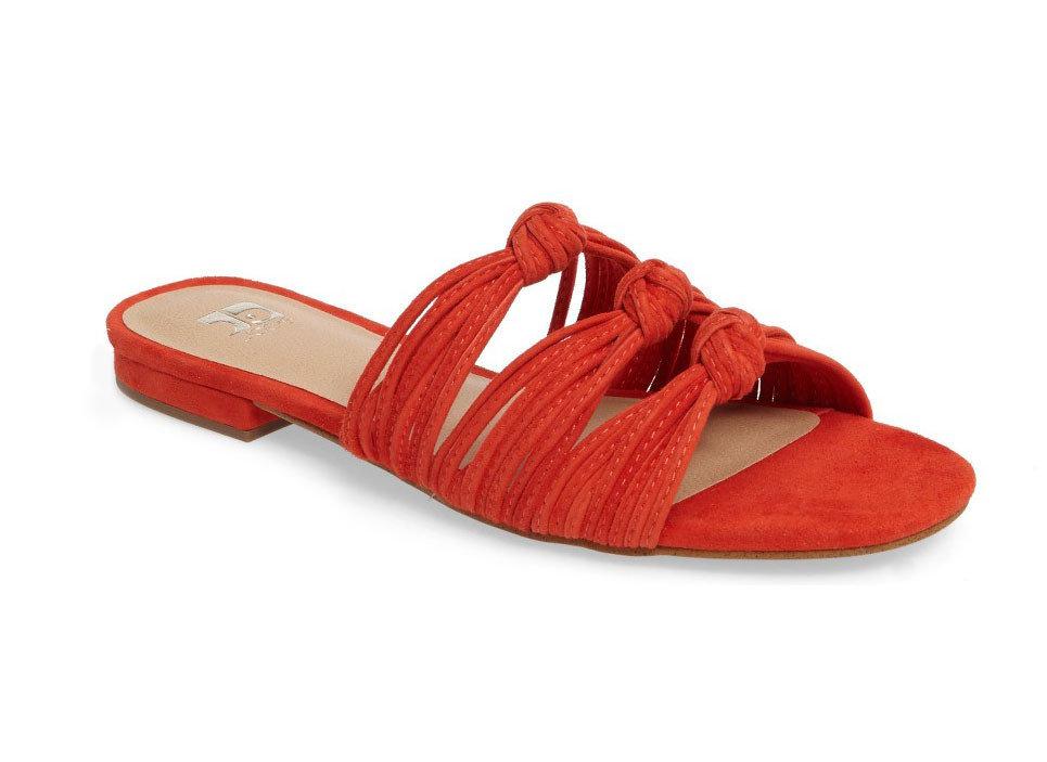 Style + Design footwear shoe flip flops red orange leather product slipper sandal outdoor shoe textile