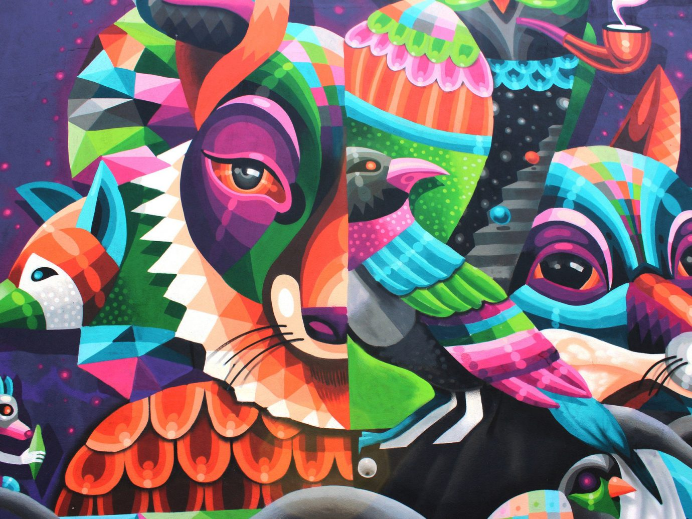 animals art Arts + Culture brick wall City city streets colorful graffiti street art streets urban color decorated mural colored screenshot illustration psychedelic art