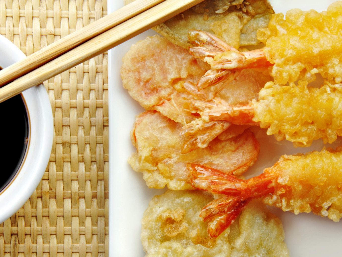 Food + Drink food dish plate cuisine tempura fried food asian food meal fish fried prawn Seafood panko chicken fingers chinese food breakfast