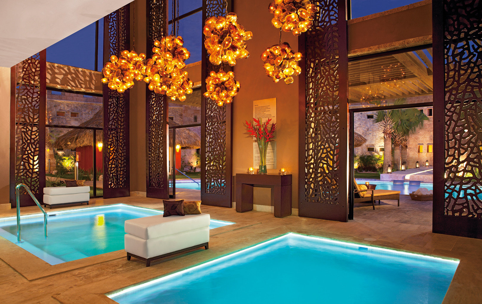 All-Inclusive Resorts Elegant Hot tub/Jacuzzi Hotels Luxury Modern Pool Romance indoor leisure swimming pool estate Resort Lobby interior design mansion blue Villa