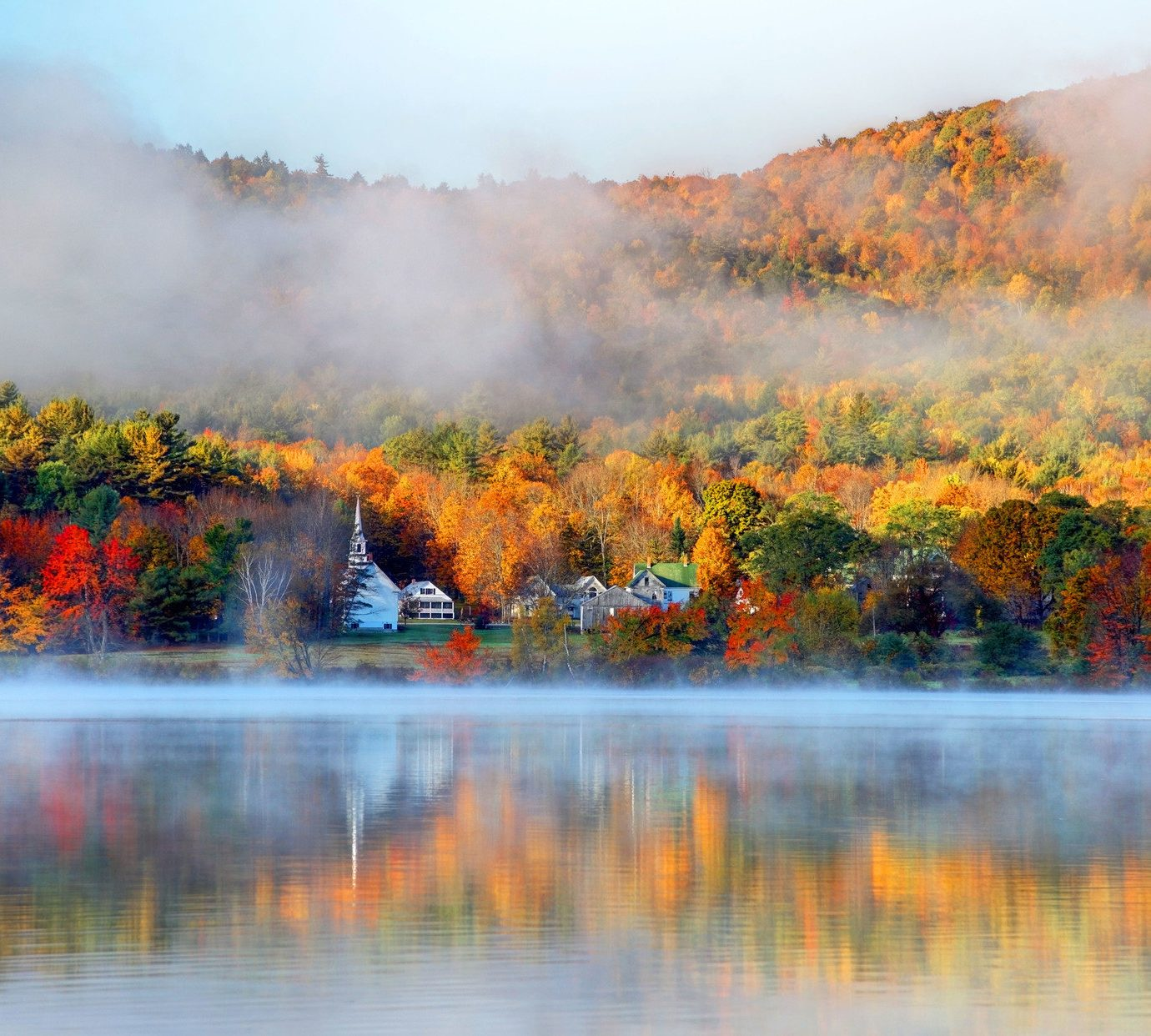 Hotels Road Trips Trip Ideas Nature water outdoor reflection pond atmospheric phenomenon tree wilderness autumn season leaf morning River Forest landscape Lake evening flower dawn sunrise mist