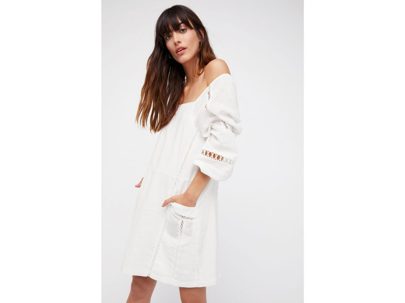 Cruise Travel Style + Design clothing white person sleeve t shirt dress outerwear posing photo shoot neck blouse abdomen pocket textile beige collar dressed