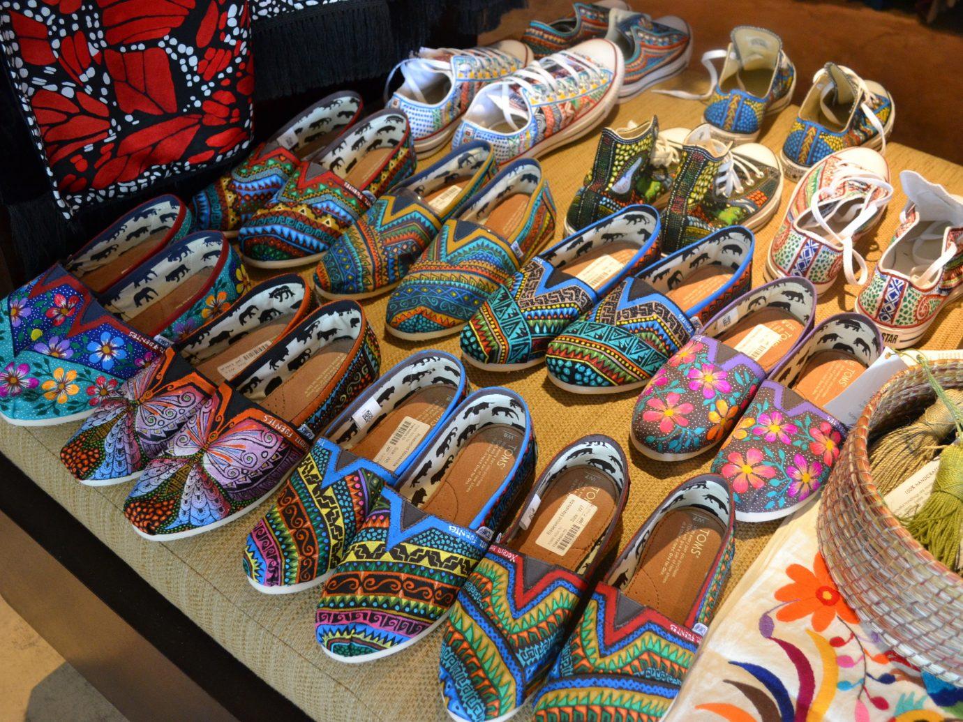 Hotels footwear indoor public space shoe market food art bazaar colorful decorated