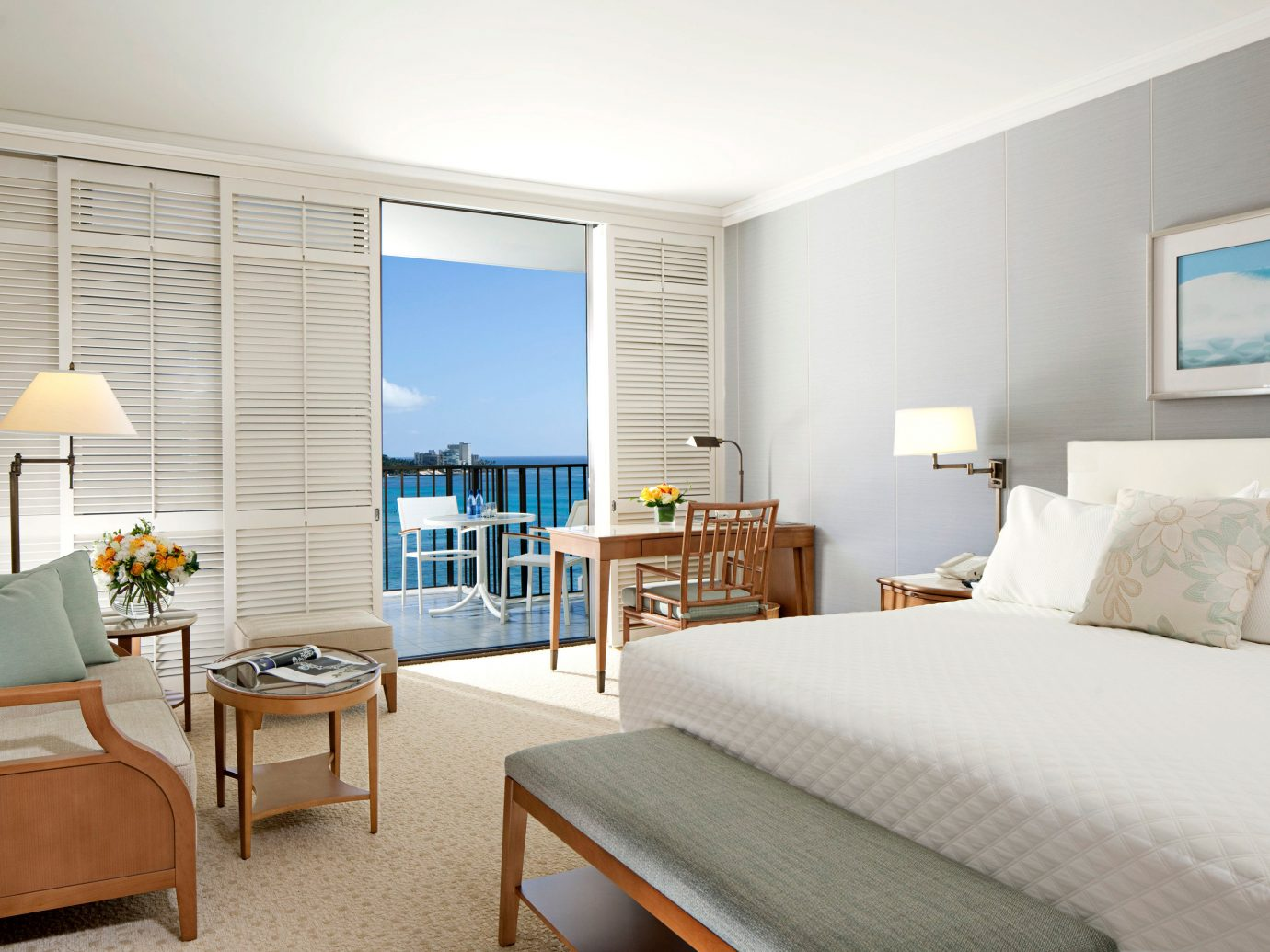 Balcony Bedroom Boutique Hotels Hawaii Honolulu Hotels Living Luxury Patio Resort Scenic views indoor wall floor room bed ceiling property window condominium real estate Suite interior design home estate hotel living room cottage apartment furniture