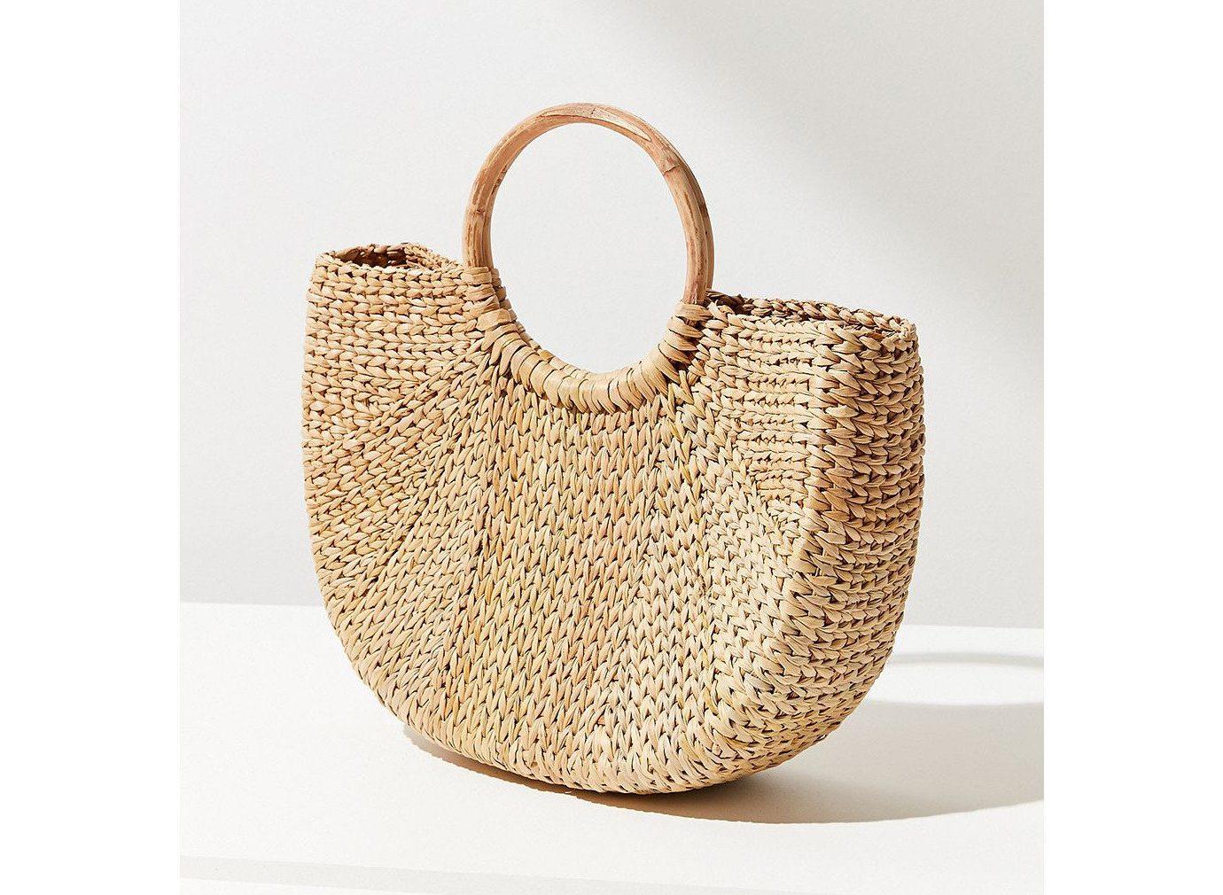 Packing Tips Style + Design Travel Shop handbag bag shoulder bag product basket wicker product design beige