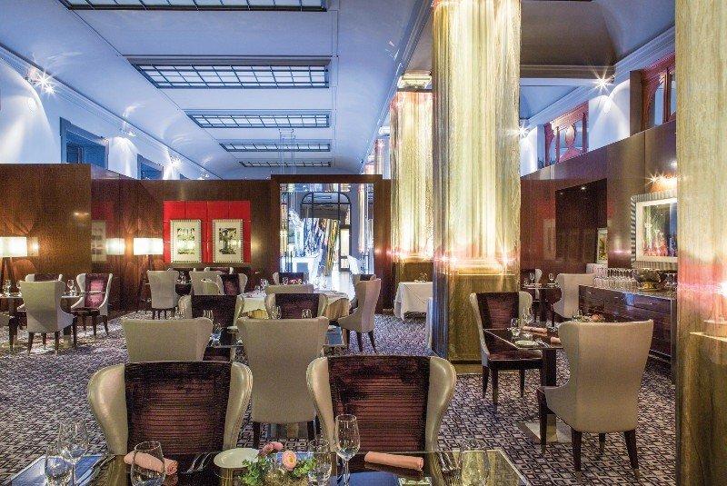 europe Hotels Prague indoor floor chair room Lobby restaurant meal interior design furniture estate area
