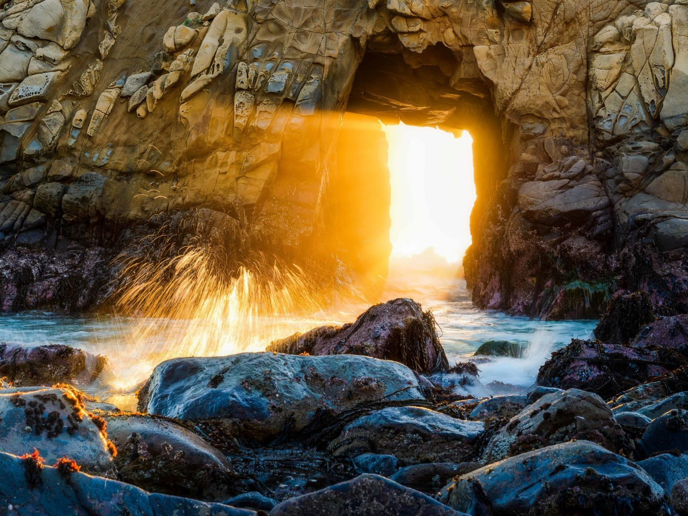 America Beach Trip Ideas West Coast Nature water Waterfall rock water feature formation geological phenomenon sunlight landscape watercourse geology cave stream fluvial landforms of streams computer wallpaper stone