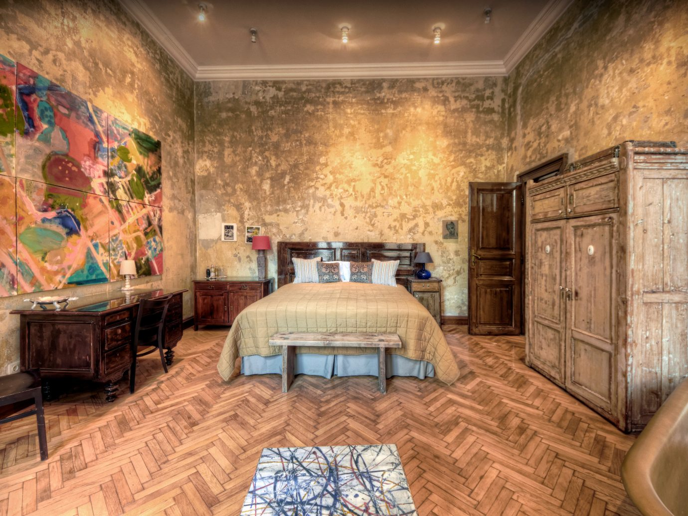 Bedroom Budapest Cultural Design europe Hotels Hungary Modern Rustic indoor floor wall Living room property estate furniture ceiling mansion living room home interior design cottage Lobby real estate old wood decorated cluttered