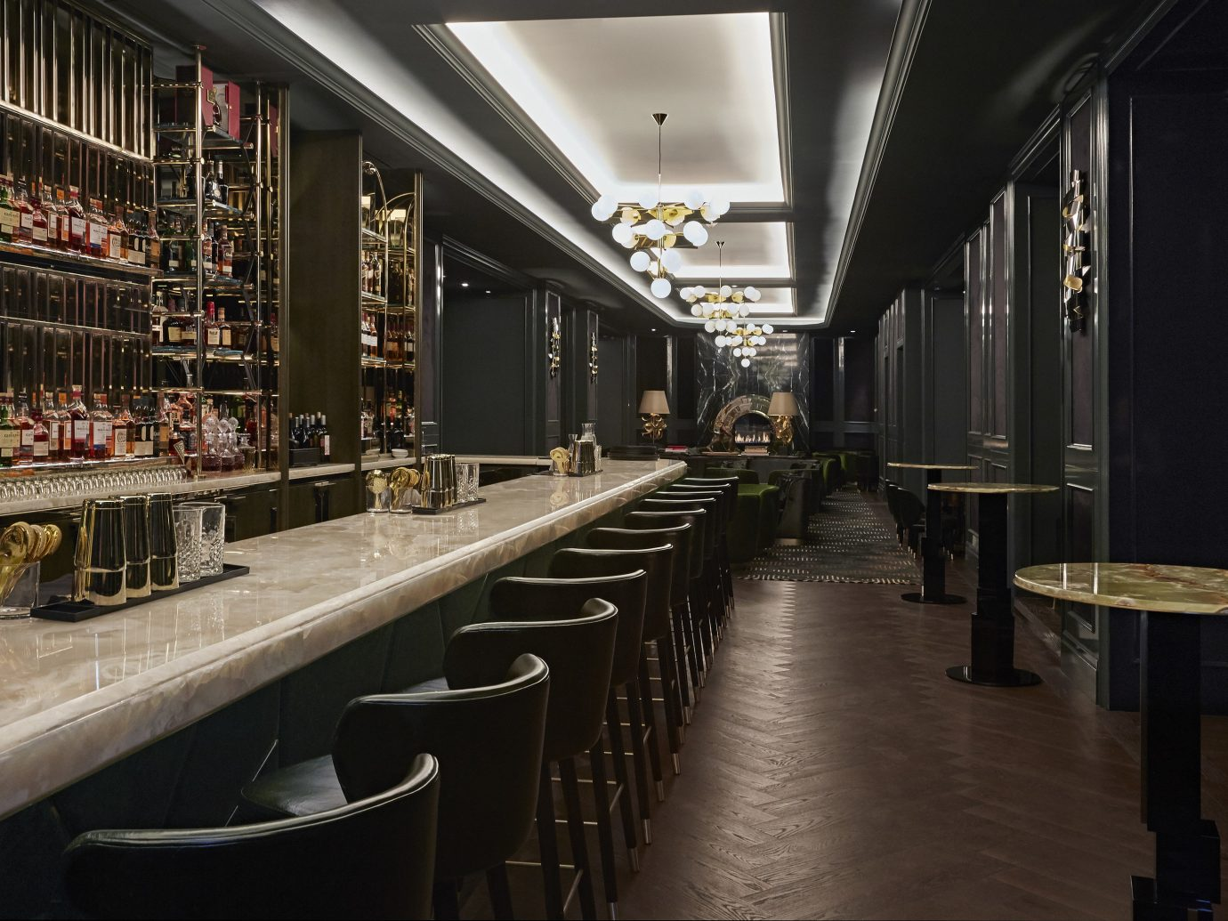 Canada Hotels Toronto indoor floor interior design Bar long platform restaurant lined several