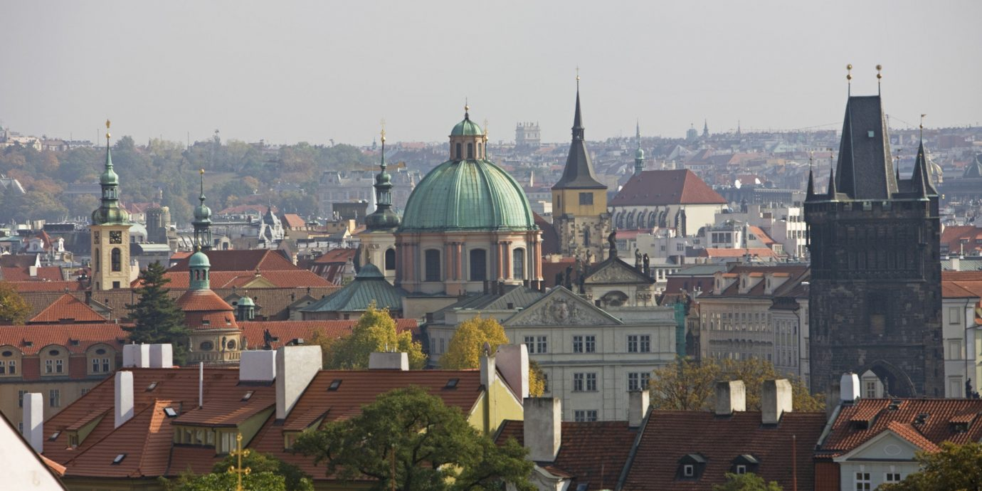 europe Hotels Prague outdoor Town building skyline City landmark cityscape urban area human settlement tourism Downtown cathedral place of worship Church old