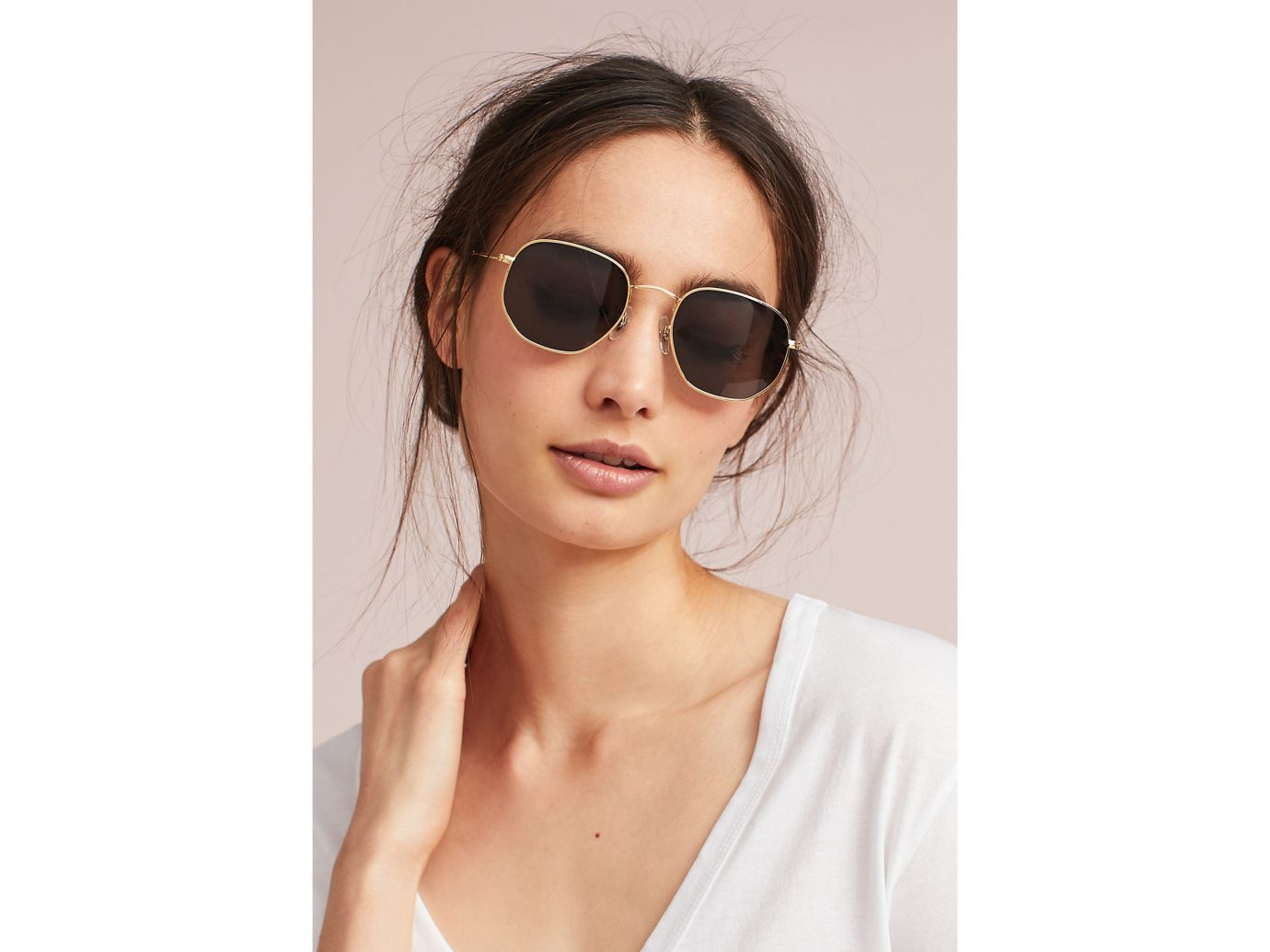 Spring Travel Style + Design Summer Travel Travel Lifestyle Travel Shop person eyewear sunglasses vision care woman wearing fashion model posing glasses white brown hair beige health & beauty spectacles beautiful pretty goggles