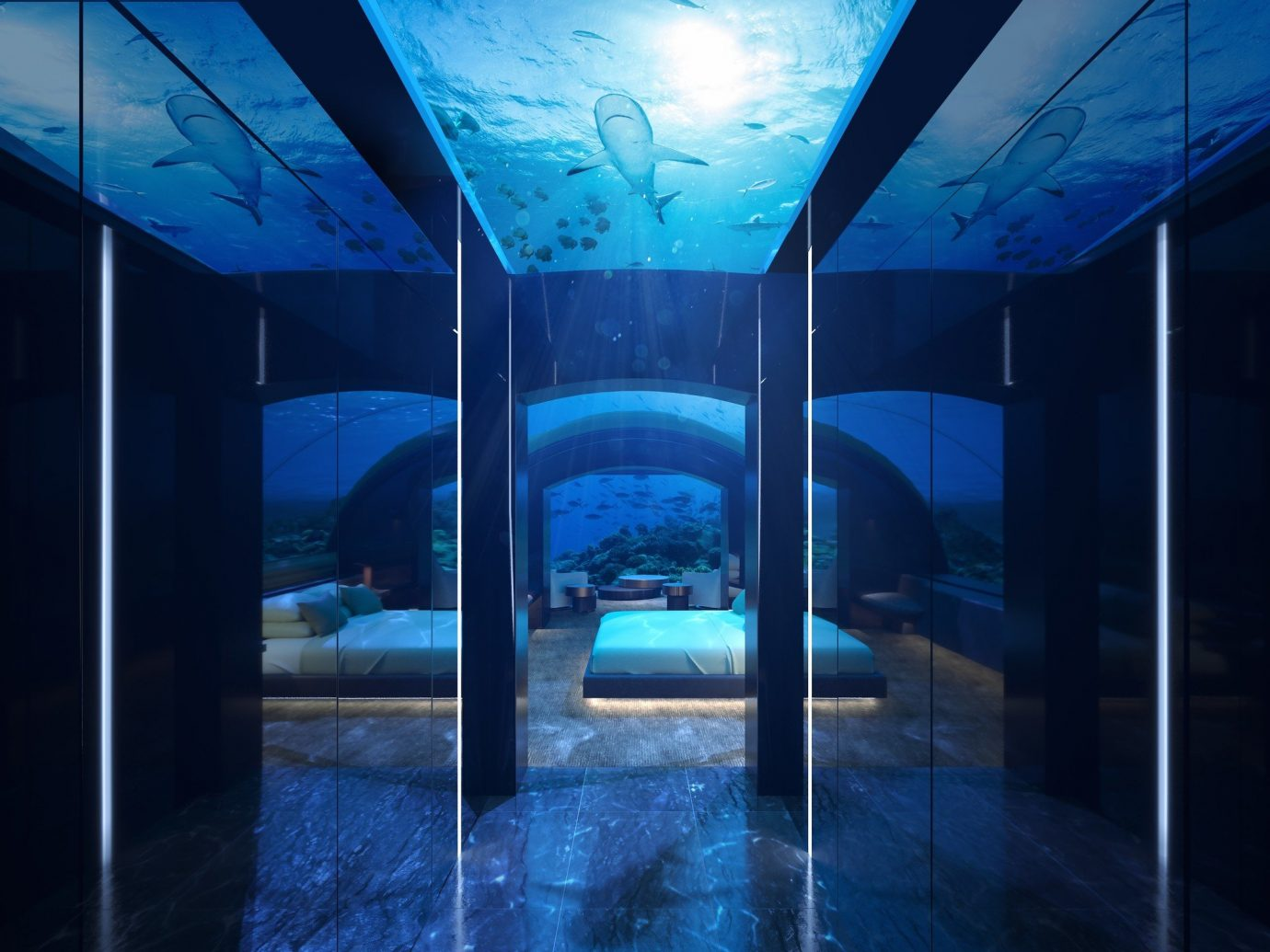 asia Beach Hotels Islands Maldives News blue light Architecture lighting darkness interior design computer wallpaper glass