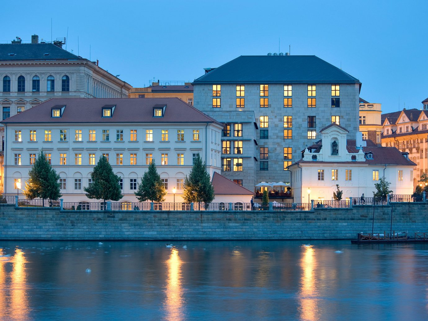 Architecture Buildings Cultural europe Exterior Hotels Landmarks Outdoors Prague water sky building outdoor Town reflection landmark cityscape house River evening Downtown estate dusk waterway palace castle