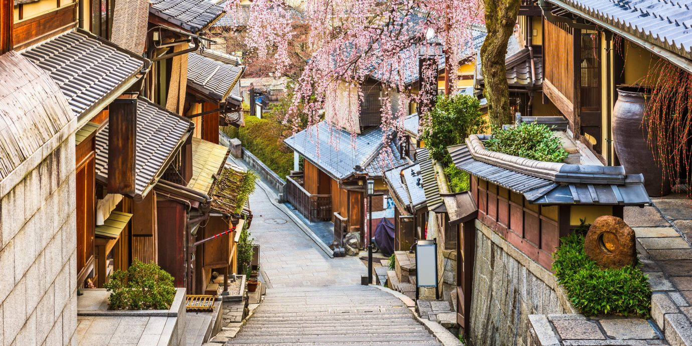 Japan Packing Tips Style + Design Travel Shop Town neighbourhood alley street house tree residential area home City wood road real estate flower plant facade Village