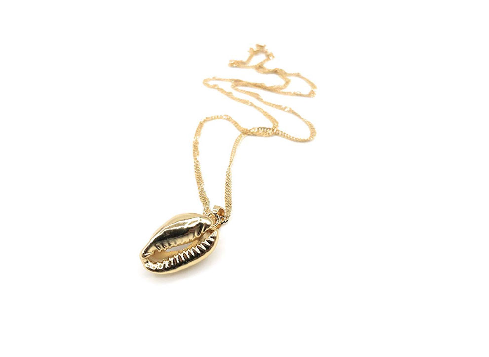 Leslie Boules Shell Bead Gold Plated Pendant Necklace