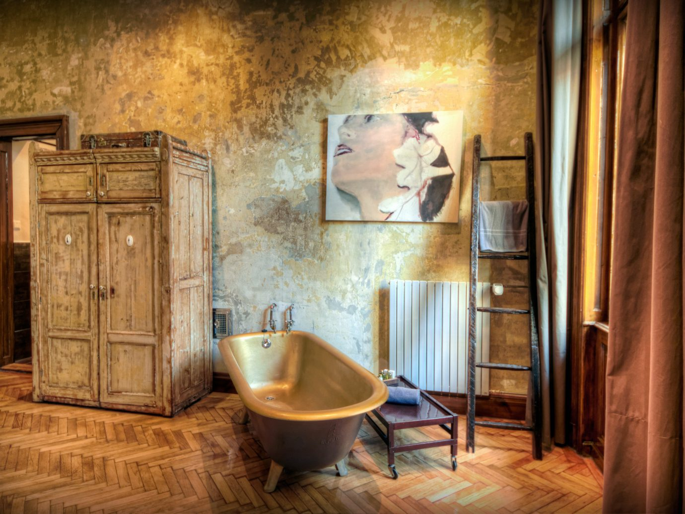 Bath Bedroom Budapest Cultural Design europe Hotels Hungary Living Modern Rustic indoor floor room bathroom interior design home estate old tub stone