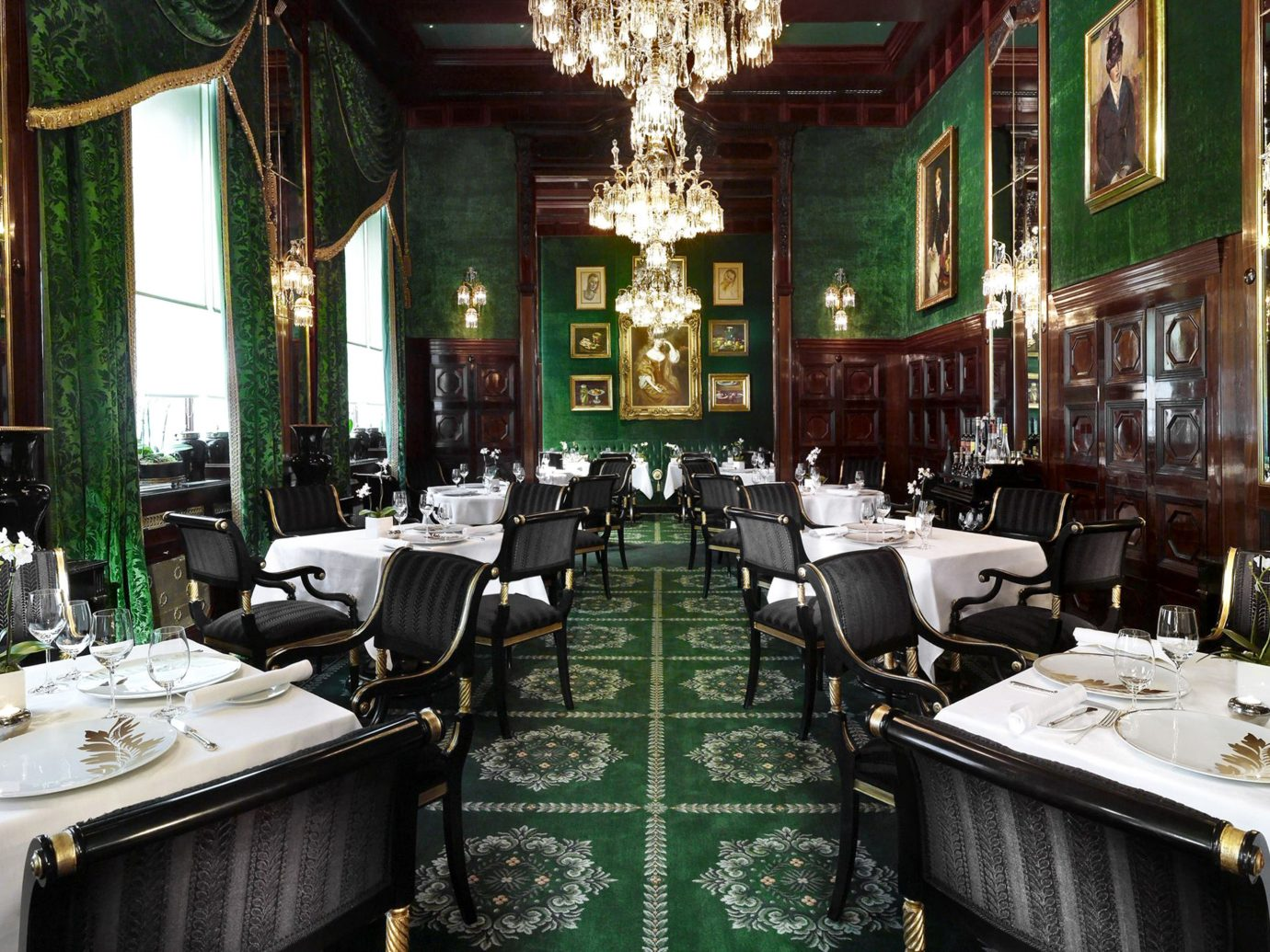 Austria Bar Dining Drink Eat europe Historic Hotels Vienna indoor window restaurant meal green estate function hall interior design decorated furniture dining room