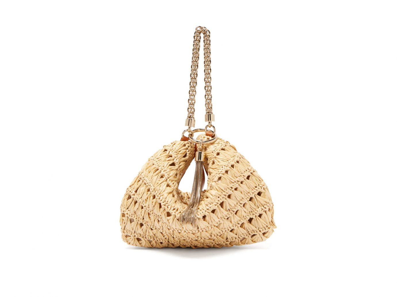 Jimmy Choo Callie Woven-Raffia Chain-Tassel Clutch