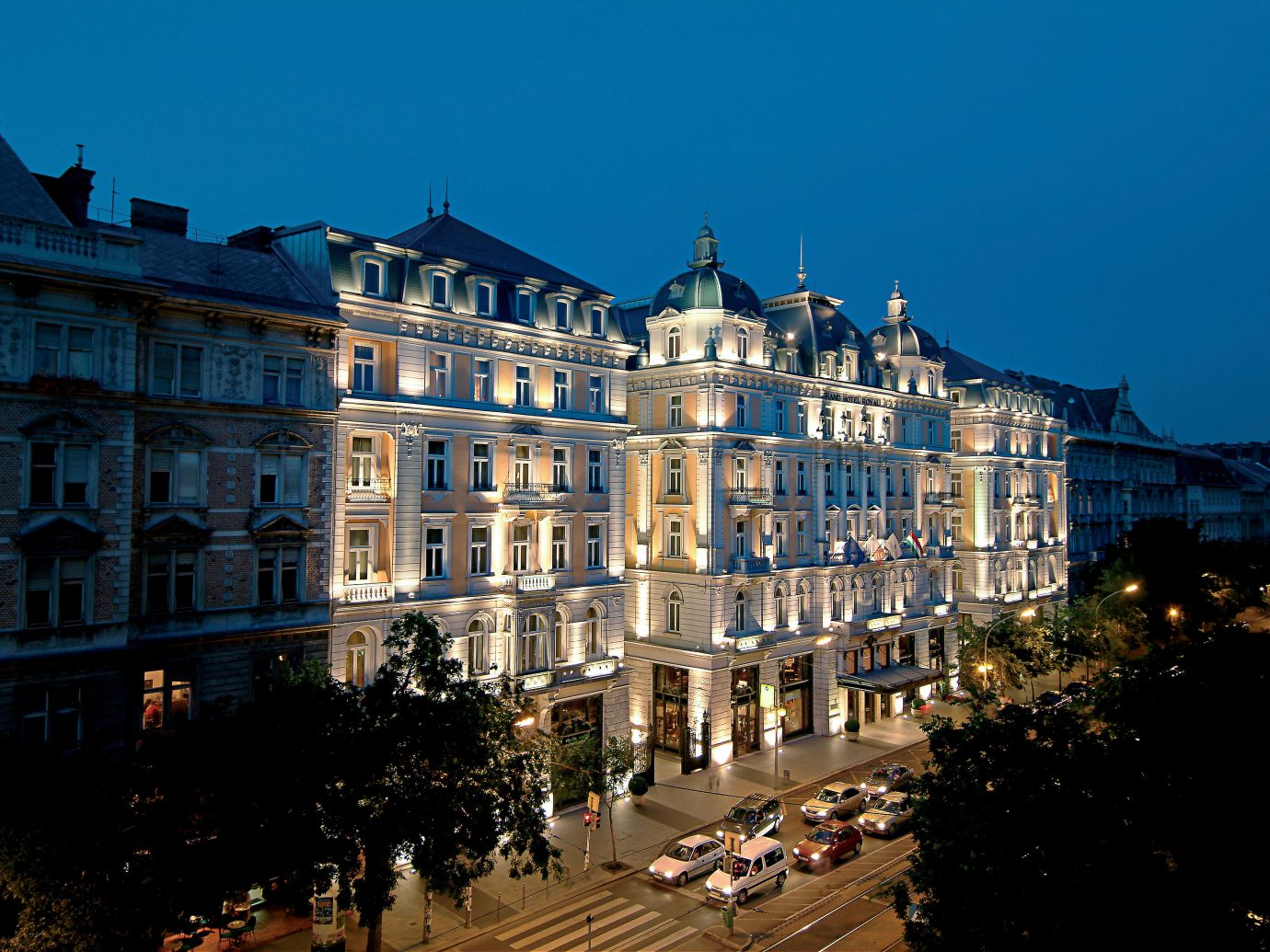 Architecture Budapest Buildings City Elegant europe Exterior Family Historic Hotels Hungary Luxury Trip Ideas outdoor metropolitan area landmark Town urban area cityscape night human settlement neighbourhood evening metropolis Downtown château street town square waterway plaza palace dusk crowd