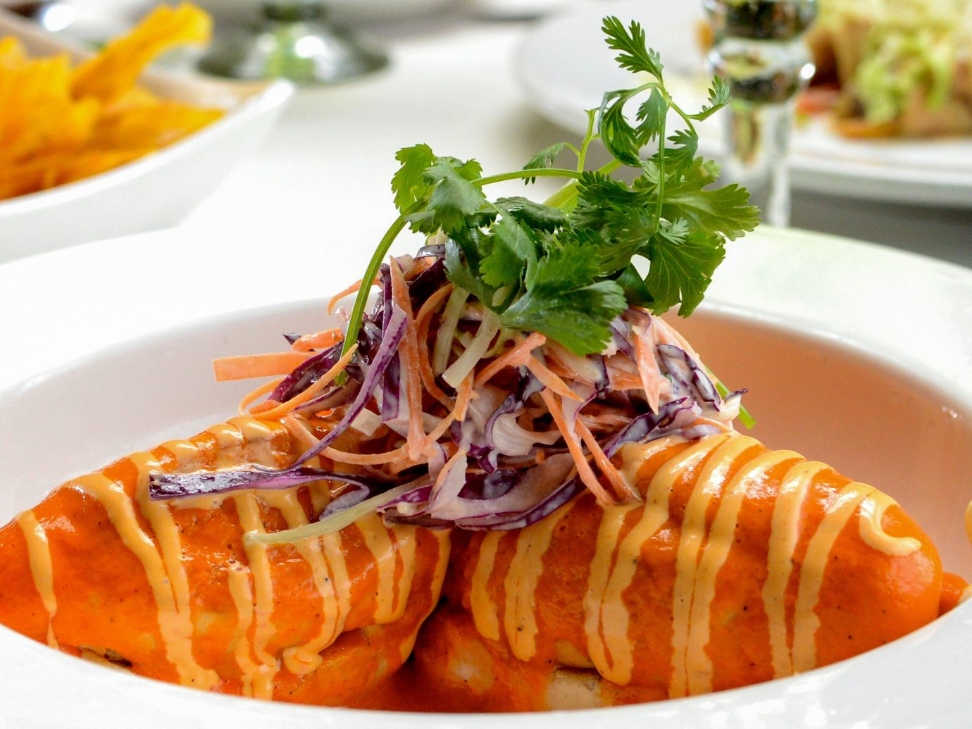 Food + Drink Mexico Puerto Vallarta plate food table dish cuisine meal asian food side dish thai food fried food recipe southeast asian food Seafood orange pasta meat piece de resistance