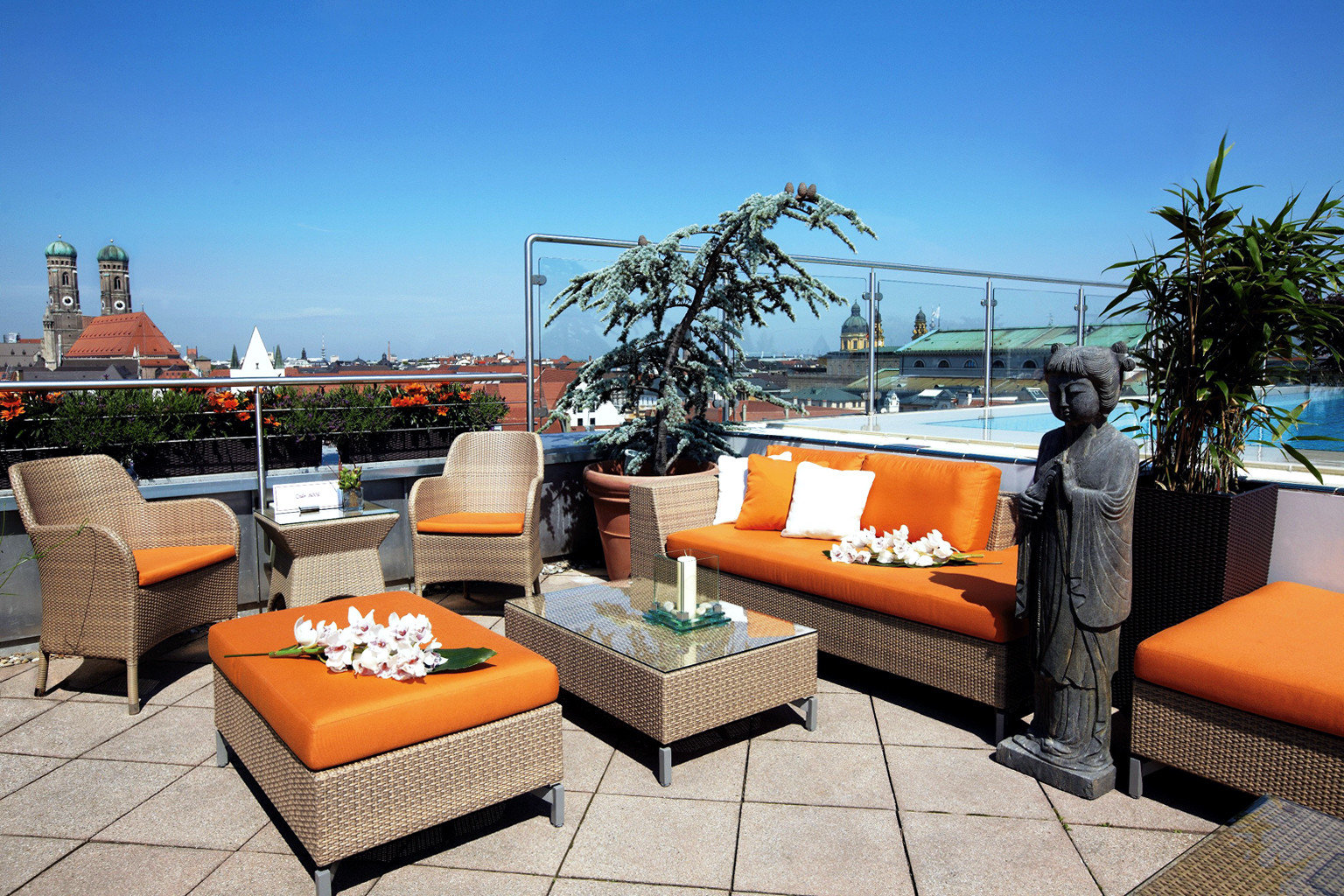 City Dining Drink Eat europe Germany Hotels Luxury Munich Nightlife Rooftop Scenic views sky outdoor leisure property vacation estate Resort home real estate Villa orange living room condominium apartment