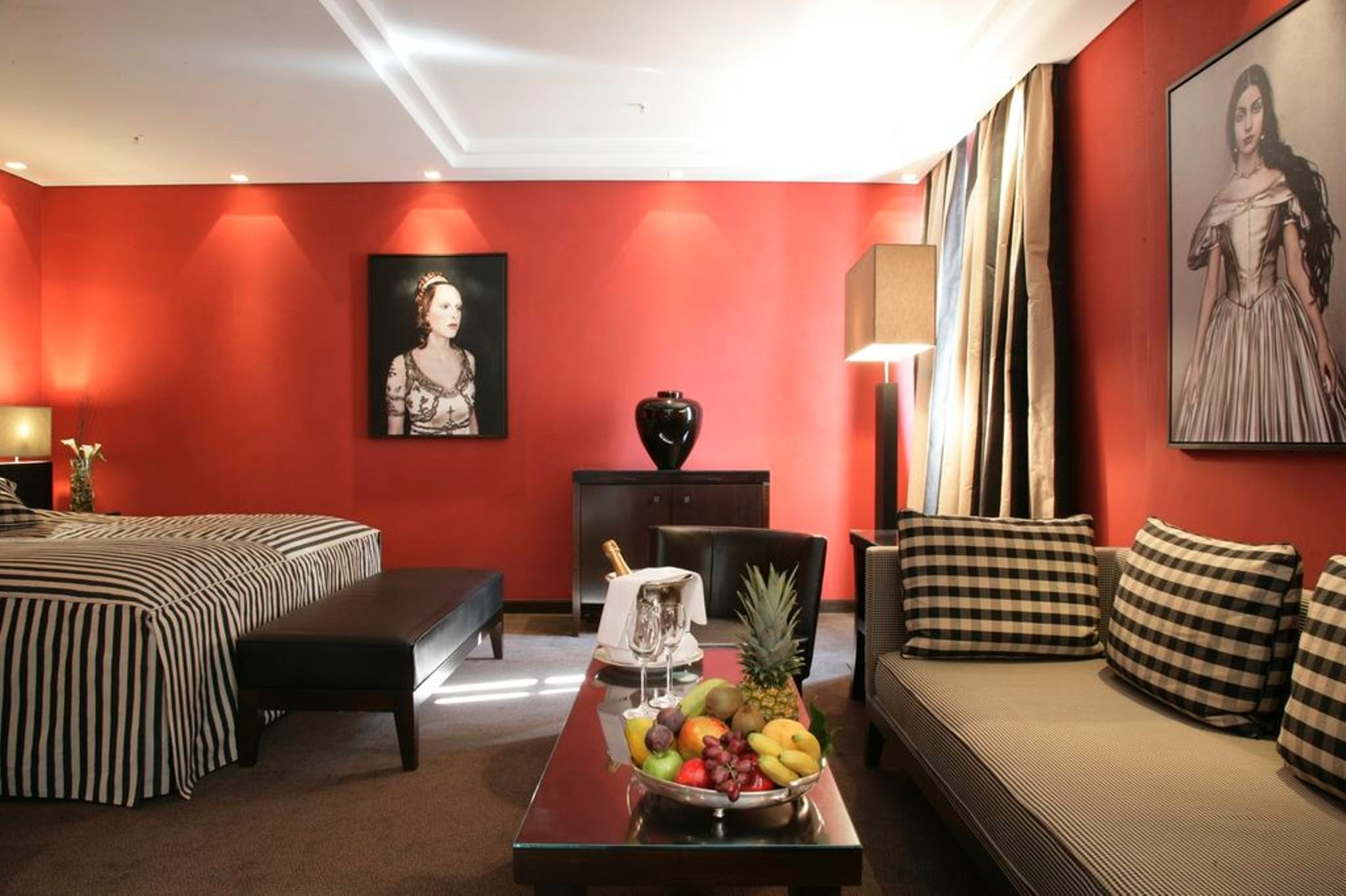 europe Germany Hotels Munich indoor wall table room floor Living interior design living room ceiling Suite red interior designer apartment hotel furniture decorated several