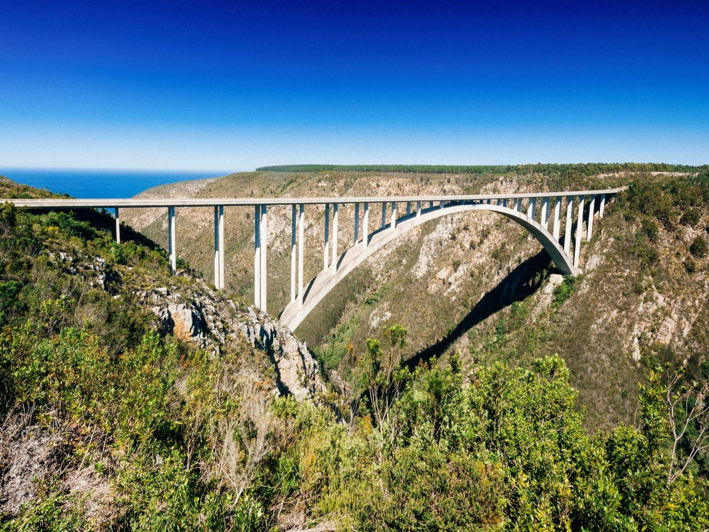 Bloukrans Bungy bridge viaduct arch bridge sky aqueduct concrete bridge escarpment reservoir fixed link devil's bridge landscape formation tree beam bridge national park