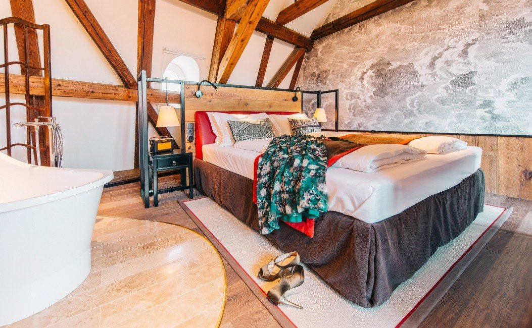 Budapest europe Hotels Hungary room interior design floor wood Bedroom flooring furniture home loft bed ceiling Suite