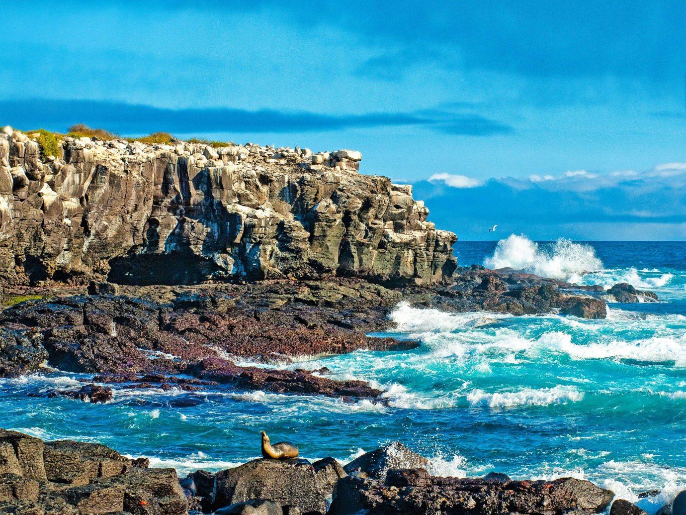 Sea Coast coastal and oceanic landforms sky shore Ocean rock promontory headland cliff cape wave terrain formation water tourism klippe bay islet cove