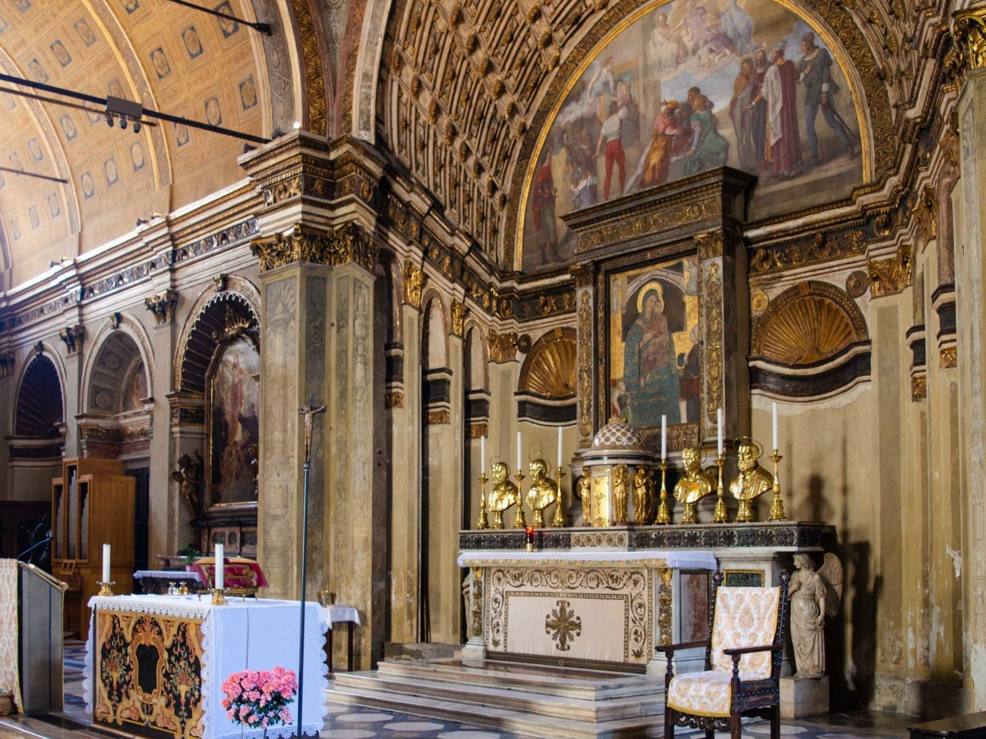 Arts + Culture Italy Milan building arch place of worship column Church interior design basilica tourist attraction chapel byzantine architecture religious institute medieval architecture window arcade cathedral altar crypt historic site baptistery colonnade