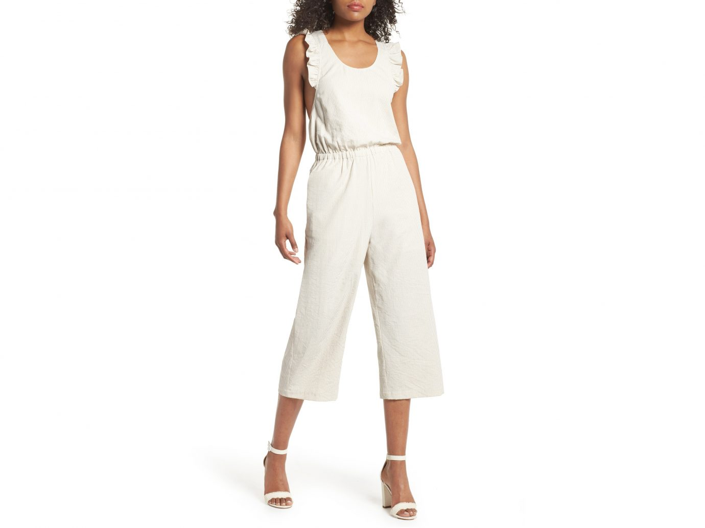 First Monday stripe ruffle crop jumpsuit