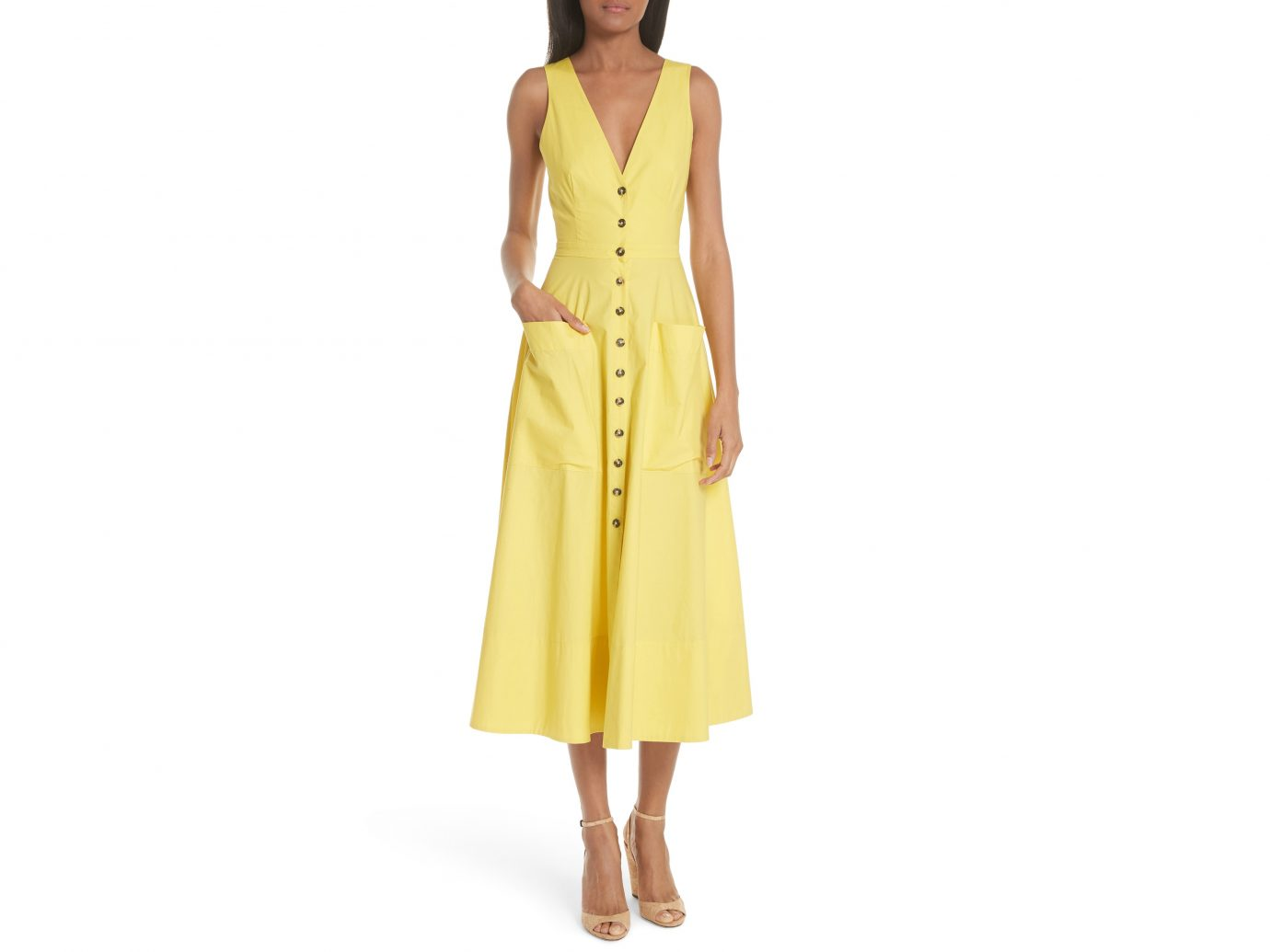 Saloni Zoey Cut-out Stretch Poplin Dress
