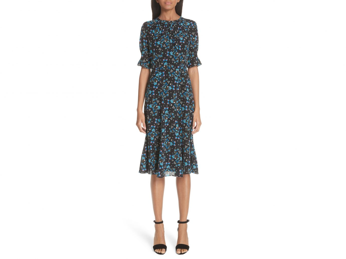 Altuzarra Floral Print Flare Hem Silk Dress $