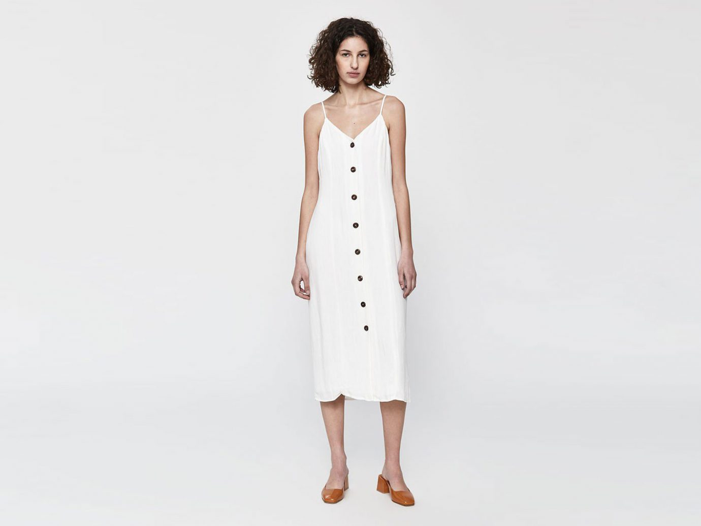 Stelen Cleo Sleeveless Button-Up Dress in Ecru