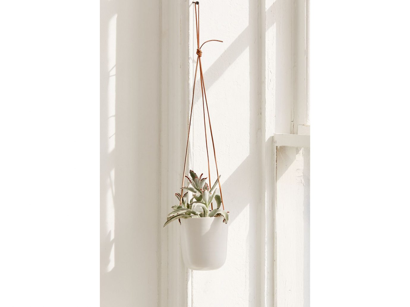 Loren Leather Ceramic Hanging Planter