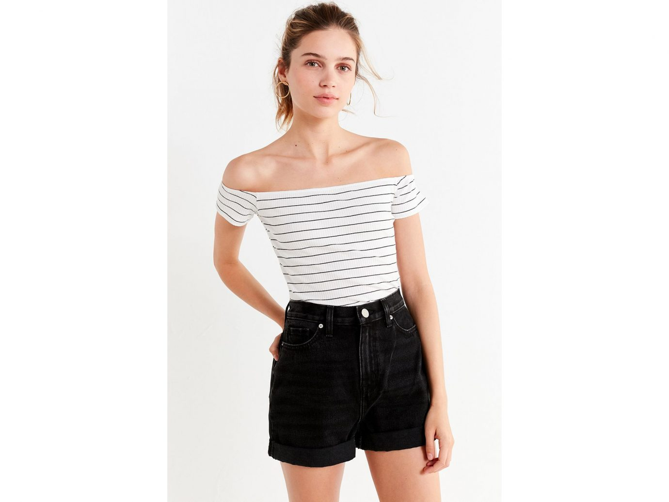 UO Luna Striped Off-the-Shoulder Top