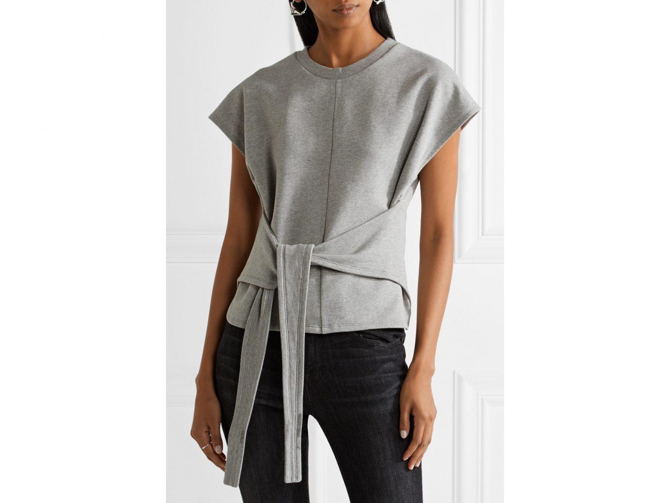 best sweatshirts, T by Alexander Wang tie-front cotton jersey top