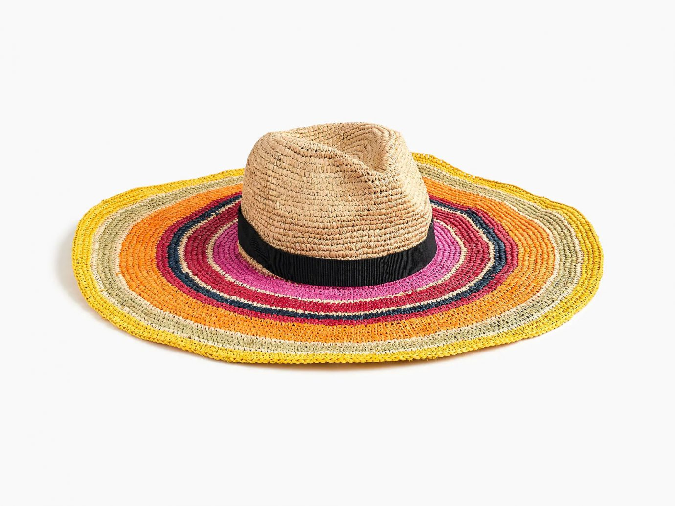 J.Crew Extra-Wide Brim Packable Hat in Rainbow Stripe