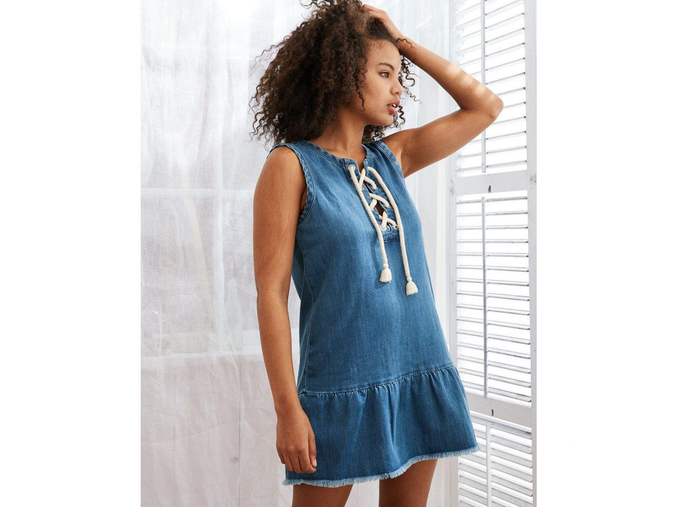 Style + Design Travel Shop clothing person shoulder fashion model day dress denim one piece garment dress neck electric blue jeans sleeve waist