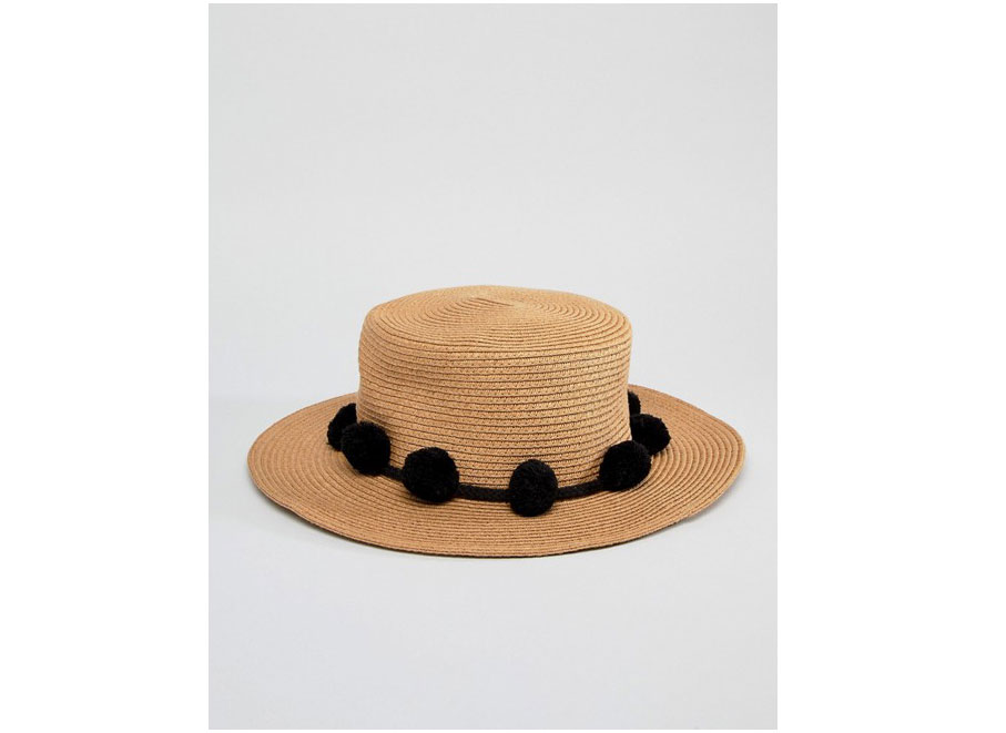 ASOS Pieces Straw Hat with Pom Poms
