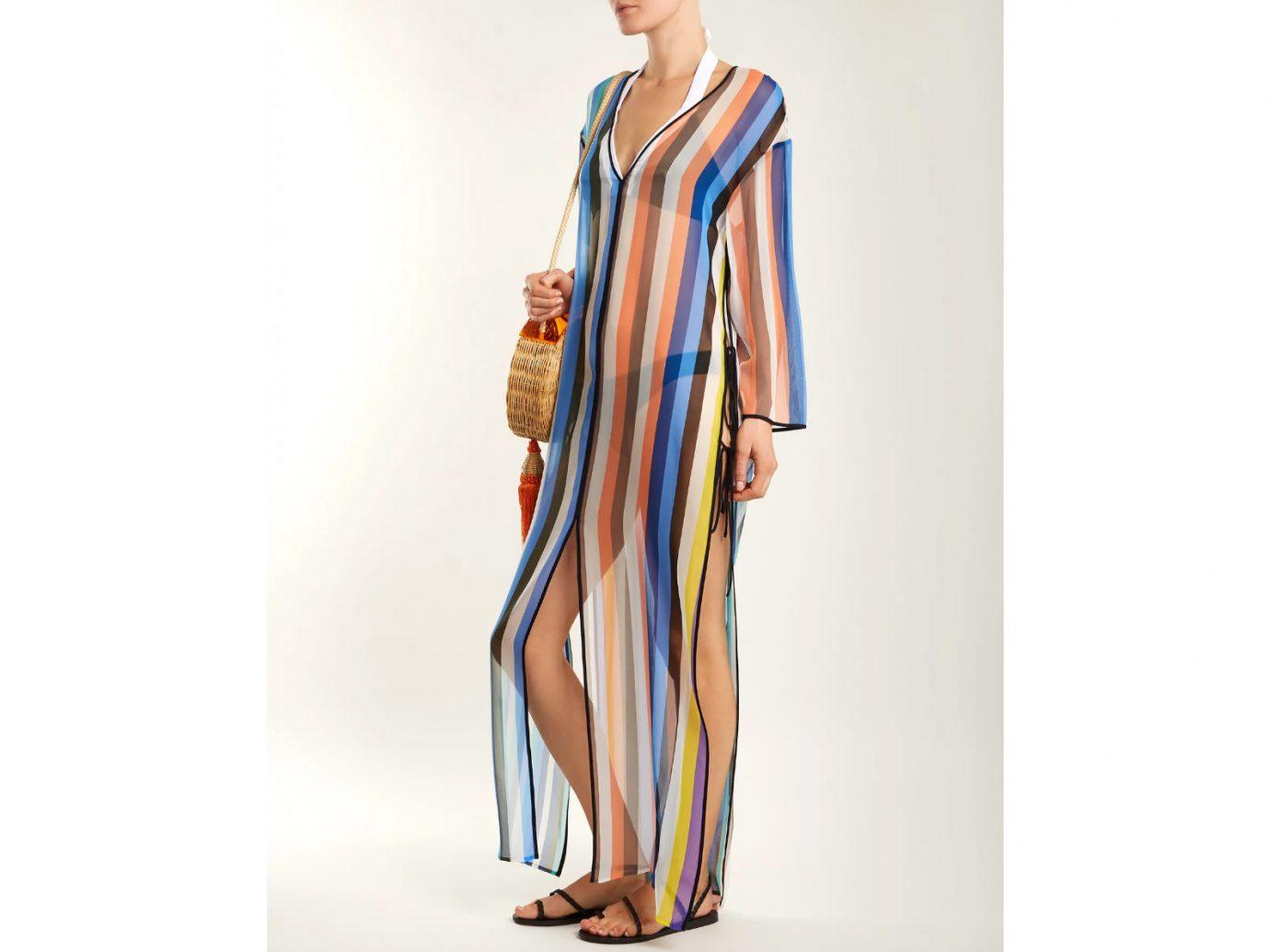 DVF Striped Silk Maxi Kaftan Cute Beach Cover-Ups