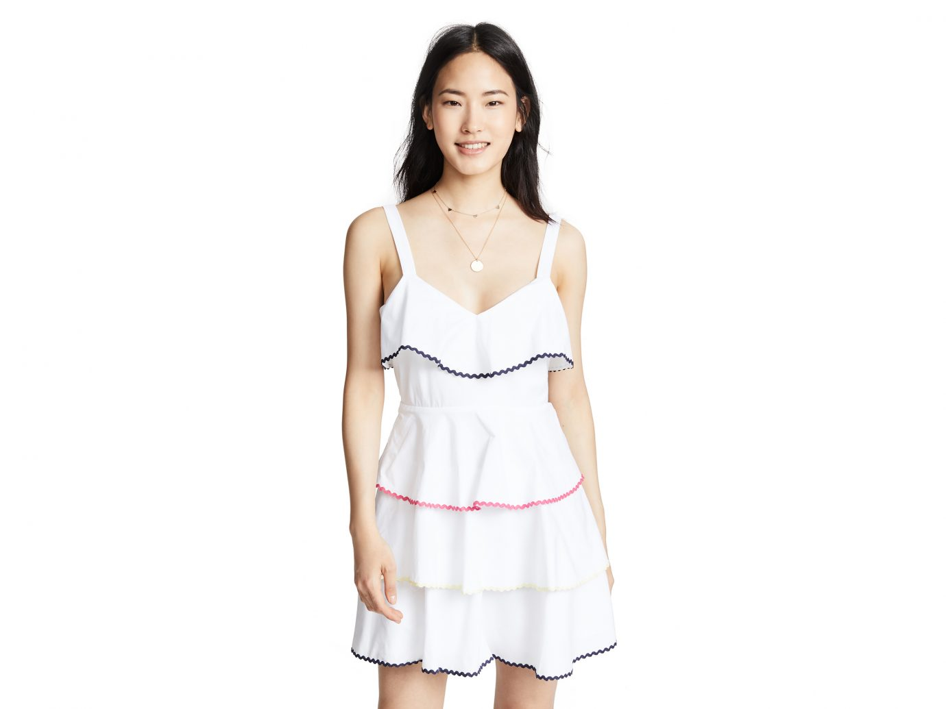 WAYF Trento Tiered Mini white Dress