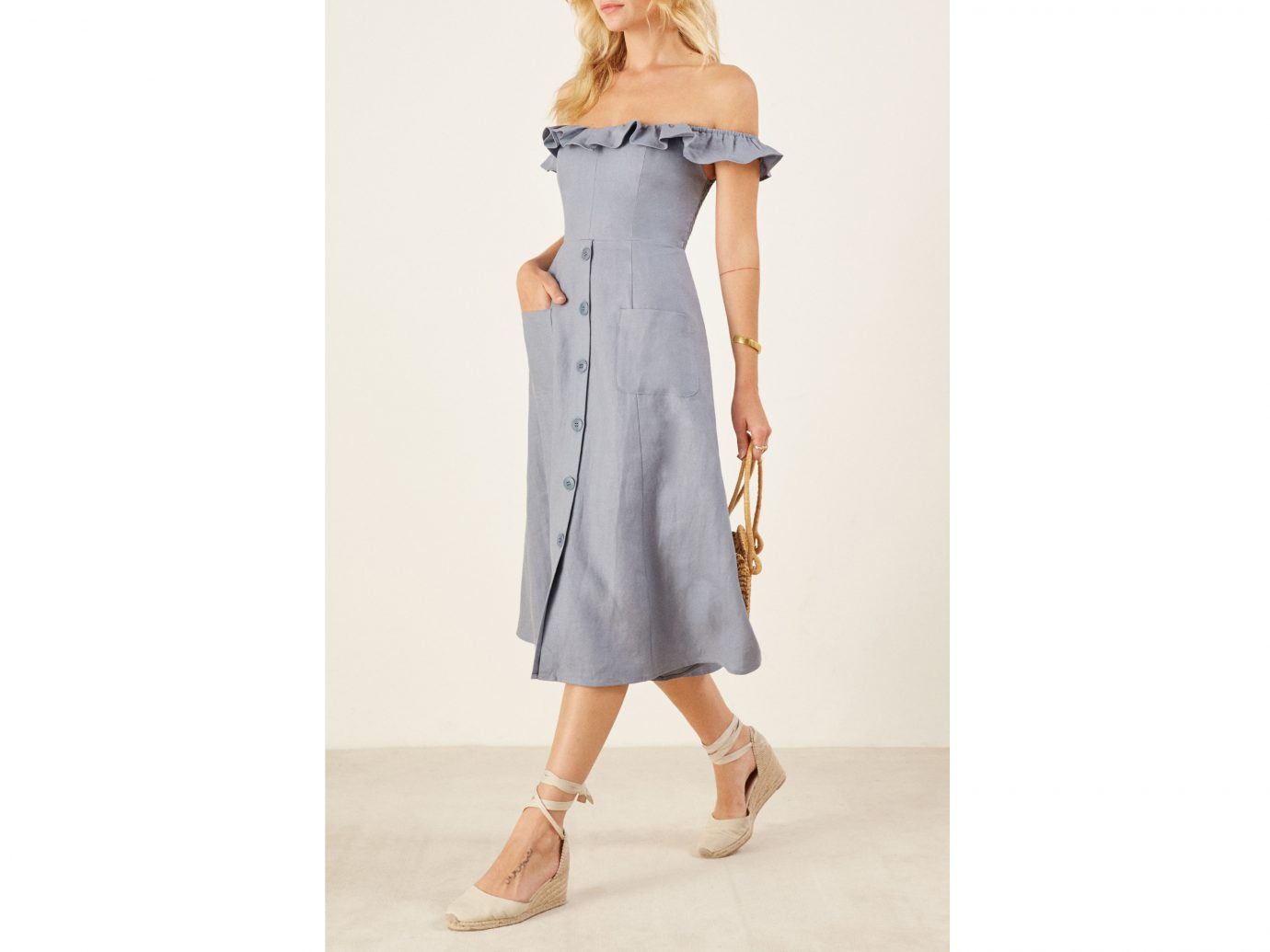 Hattie Off the Shoulder Linen Dress