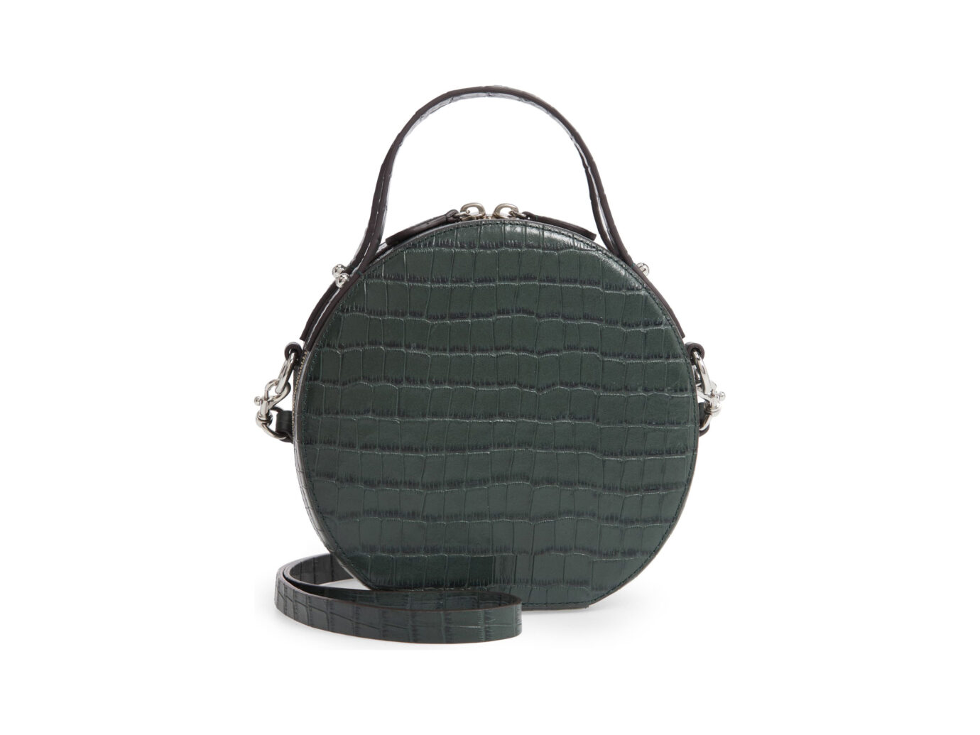 Rebecca Minkoff Jody Croc Embossed Leather Circle Crossbody Bag
