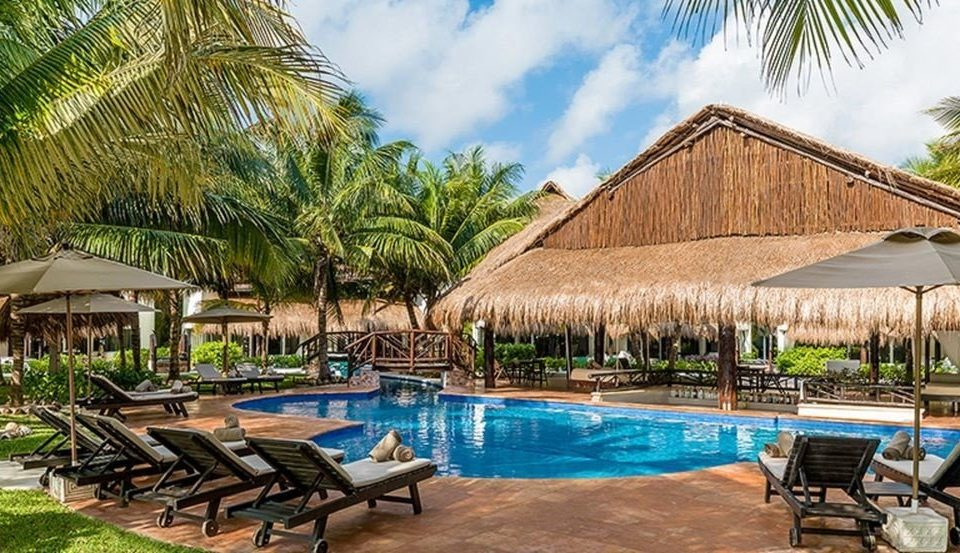 All-Inclusive Resorts Hotels Romance tree chair umbrella Resort lawn property swimming pool leisure building Pool wooden palm tree hacienda arecales Villa resort town eco hotel cottage blue palm lined Deck swimming