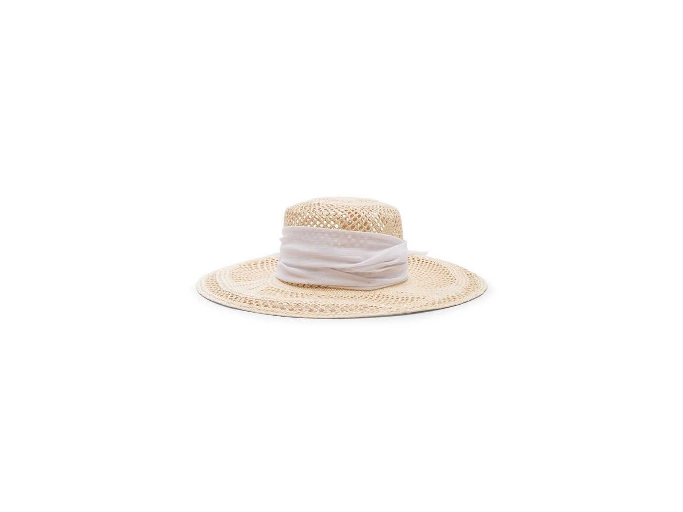 Sensi Studio Open Weave Boater With Chiffon Hat