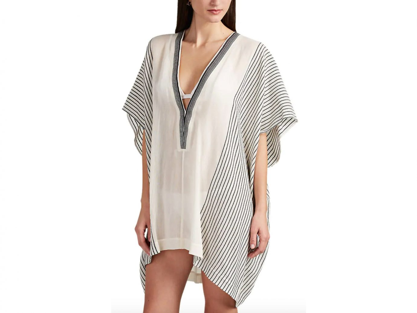 SU Lamu Striped Cotton Gauze Short Caftan