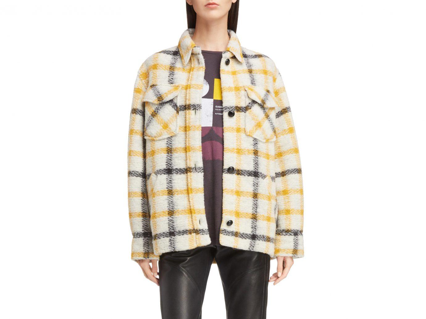 Isabel Marant Étoile Gast Check Wool Blend Jacket, Main, color, Ecru/ Yellow Isabel Marant Étoile Gast Check Wool Blend Jacket